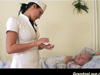 babe blowjob fucking grandpa nurse old