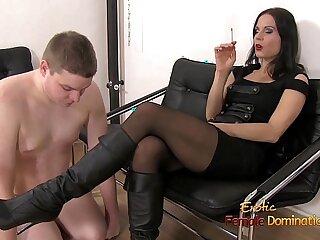 brunette domination femdom mistress rough slave