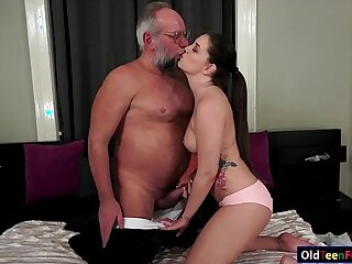 ass blowjob brunette cute grandpa latina