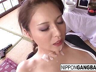 asian blowjob brunette cumshot fucking gangbang